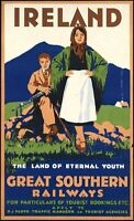 """Vintage Illustrated Travel Poster CANVAS PRINT Ireland by Train 24""""X18"""""""