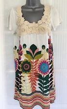 NEW MELA LOVES LONDON M L short sleeve cream multi floral print long tunic
