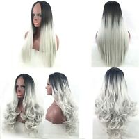 Women's Long Straight/Curly Full Wig Heat Resistant Hair Black Grey Party Wigs