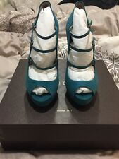 Women's $795 Gucci Suede High Heel Teal Pumps size 38 /US 8 NIB 💯% Authentic