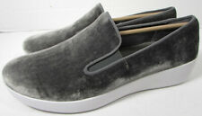 $130.00 FitFlop Womens Superskate In Velvet Loafer Shoes, Silver, US 9