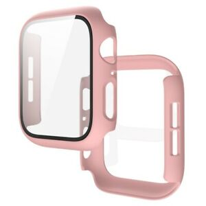 Matte PC Case Tempered Glass Screen Protector For Apple Watch Series 6 5 4