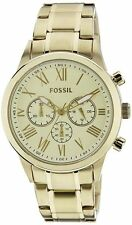 FOSSIL LIGHT GOLD S/STEEL+GOLD DIAL+CHRONOGRAPH ROMAN NUMBERS FLYNN WATCH BQ1739
