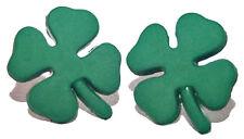 ST PATRICKS DAY SHAMROCK 4 LEAF CLOVER STUD EARRINGS (H101)