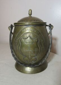 antique 1700s hand made tooled brass wrought iron Pau lidded tobacco jar humidor