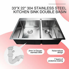 """Dual Basin Top Mount Stainless Steel Kitchen Sink Soundproof  33""""x22""""x9'' 14G"""