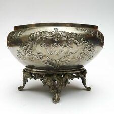 Ancienne jardinière de table ovale cache pot Napoléon III en métal repoussé VD