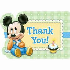 Disney Baby Mickey 1st Birthday : 8ct Thank you postcards Party w/ Envelopes