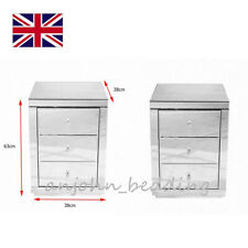 Pair of Nightstands 2x Bedside Tables Mirrored 3 Drawers Cabinets UK Stock
