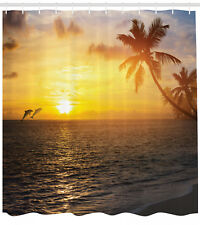 Ocean and Dolphins Palm Trees Tropical Island Beach Sunset Print Shower Curtain