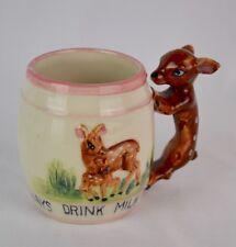Vintage Drink Your Milk Deer & Fawn Ceramic Cup