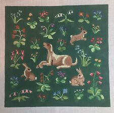 Susan Roberts Needlepoint Hand Painted Canvas Cluny Rabbits & Hound WildFlowers