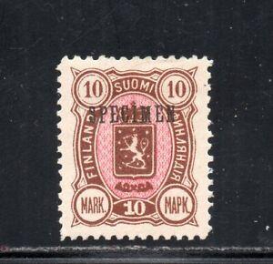 1885 FINLAND 10m BROWN & ROSE MINT STAMP, SPECIMEN OVERPRINT, RARITY !