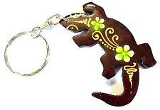 Porte clé clef Gecko Salamandre Bois Artisanal Fleur wooden key holder cle