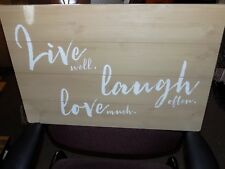 WOODEN WALL SIGN 24X16 LIVE WELL LAUGH OFTEN LOVE MUCH