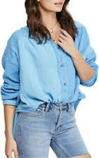 Free People Womens Moving Mountains Blouse Shirt Blue XS New