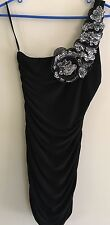 Debs Sz Large Little Black Dress One Shoulder Flower Animal Print