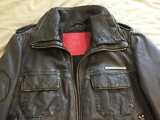 """SUPERDRY mens """"BRAD"""" distressed LEATHER JACKET black SMALL motorcycle BOMBER vtg"""