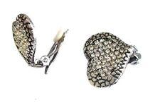 Silver Gold Heart Stud Clip on Earrings Crystal Diamante Gift Women Jewellery UK 11 - 2 X 2.5cm