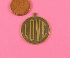 Love Pendant-1 Pc(s) Antique Brass Round
