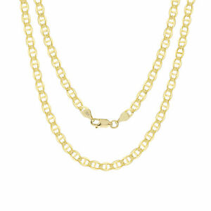 """10K Yellow Gold Solid 4mm Mariner Anchor Gucci Chain Pendant Necklace 16""""- 30"""""""