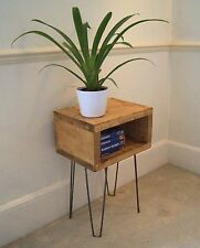 INDUSTRIAL BEDSIDE TABLE VINTAGE RUSTIC HANDMADE RECLAIMED PINE HAIRPIN LEGS