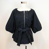 BCBG MaxAzria sz S Small Blue Navy Short Puff Sleeve Jacket