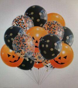 Orange Black Printed Confetti Halloween Balloons Party