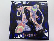 "RARE ART Glazed Ceramic Tile ""PISCES""  Bonnie MacLeary American Signed 6"" x 6"""
