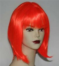 Glam Nu New Wave Punk Orange Color Womens Bob Style Hair Wig Hairpiece Costume