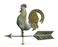 MOLDED AND GILDED COPPER AND ZINC ROOSTER WEATHERVANE, AMERICAN, LATE 19TH CE...