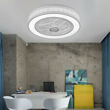 Modern Grid Ceiling Fan Invisible Acrylic Blade Dimmable LED Light Lamp W/Remote