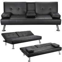 Sleeper Sofa Couch Convertible Sofa Bed Fold Living Room Futon PU Leather Black