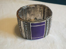 Beautiful Stretch Bracelet Clear Rhinestones Purple Enamel 1 7/8 In Wide NICE