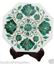 "9""x9"" White Marble Plate Malachite Marquetry Floral Inlay Kitchen Decors H1933"