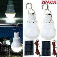 2Pcs Solar Powered LED Bulb Light Portable Outdoor Garden Camping Tent Lamp 15W