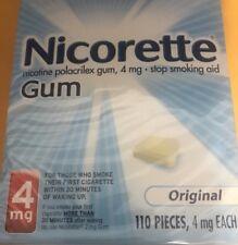 Nicorette nicotine polacrilex gum, 4mg 110 pieces Free S/H 8/2019