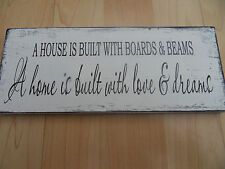 Shabby House is built home plaque sign chic and unique