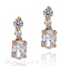 18K YELLOW GOLD PLATED TRIPLE SIMULATED DIAMOND DANGLE WOMENS STUD EARRINGS