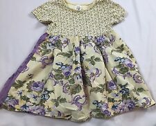 Baby Gap Size 3 Years Yellow & Purple Floral Cotton Short Sleeve Dress