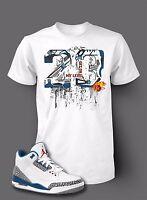 Street Wear 23 Shatter Tee Shirt To Match AIR JORDAN 3 TRUE BLUE Shoe Men White