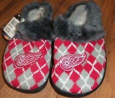 Ladies 5/6 ARGYLE RED WINGS SLIP-ON SLIPPERS nwt Brand New