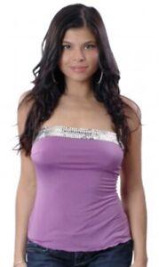 BNWT VX Intimate Sequin Strapless Camisole Microfiber Top Purple Queen Size
