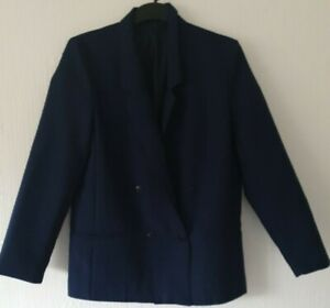 VINTAGE FULLY LINED BLAZER STYLE JACKET COLLAR BUTTONS BLUE SIZE 12