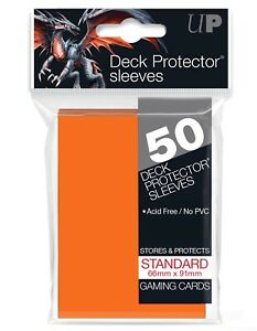 Ultra Pro Candy Orange 50 Count Pack Standard Size Gaming Deck Protector Sleeves