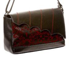 BANNED Gothic Bat Faux Leather Handbag Shoulder Bag Cross Ivy Horror Black Red