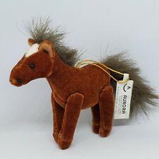 "Aurora Petite Pony Horse Plush Christmas Ornament 3"" Poseable Legs Brown White"