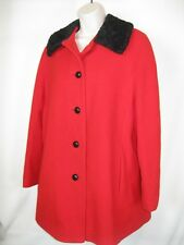 Jacobson's Red wool/ Black Faux fur Lined Coat Jacket SZ14 New England  EUC!
