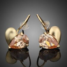 Champagne Crystal Gold Plated Waterdrop Rhinestones Drop Earring for Valentine's