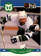 1990-91 PRO SET HOCKEY YVON CORRIVEAU ROOKIE CARD #100 WHALERS NMT/MT-MINT